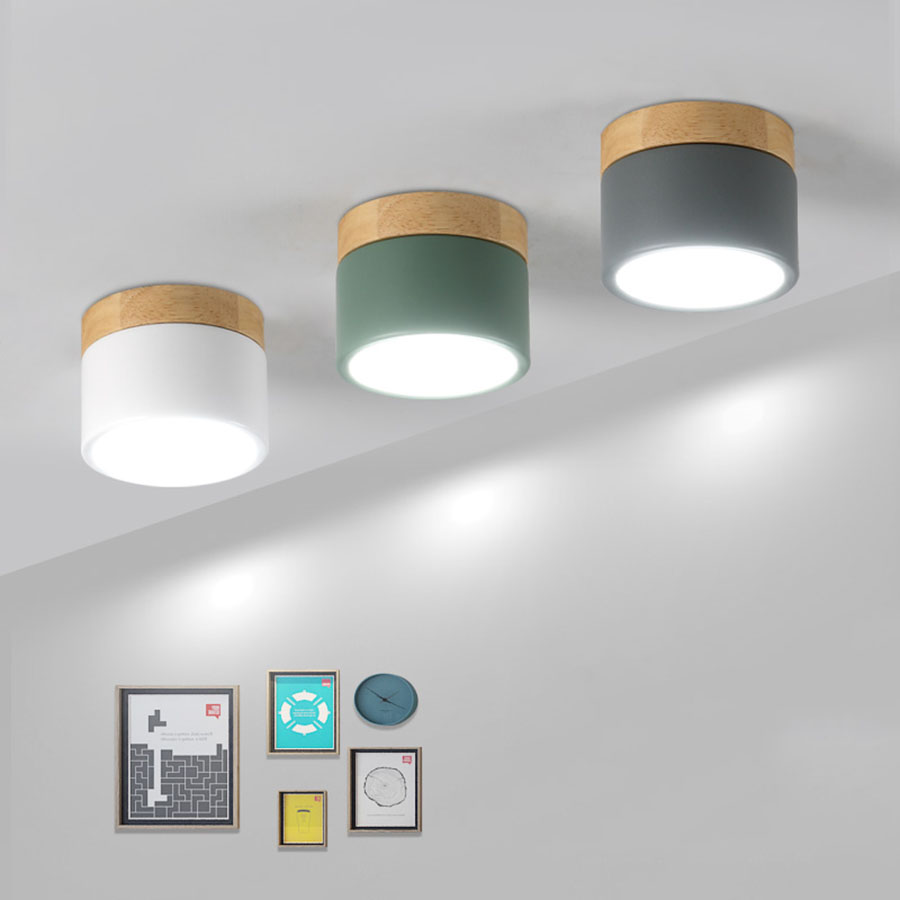 Thrisdar 7W 12W Nordic Wooden Surface Mounted LED Downlight Kitchen Bedroom Corridor LED Ceiling Spot light Ceiling Downlight