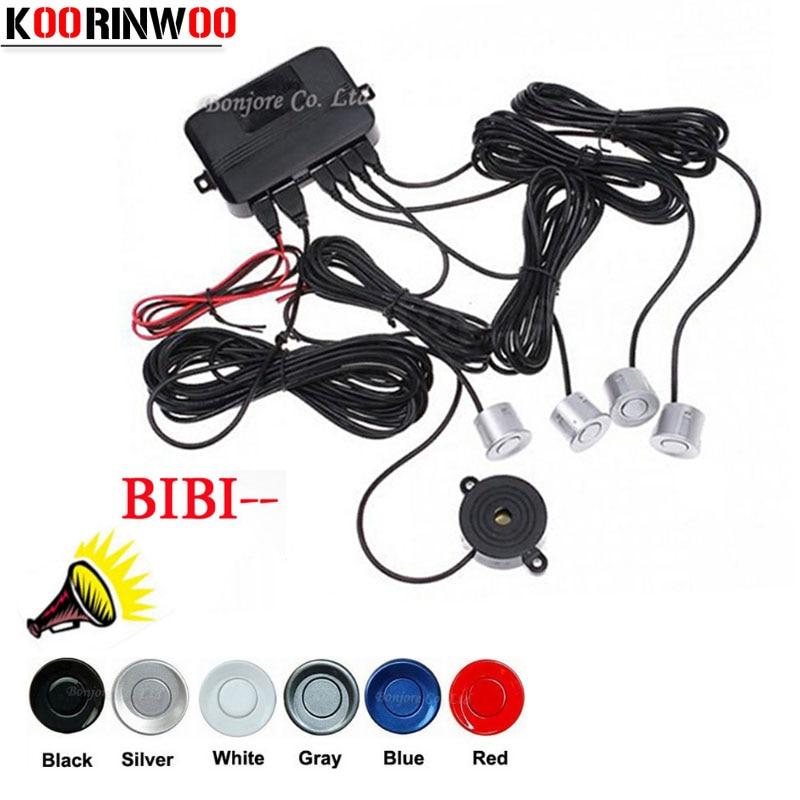 Koorinwoo coche sensores de aparcamiento Parktronics 4 negro/plata/Blanco/Gley 22mm copia inversa de los radares sonido Zumbador señal de alarma Jalousie