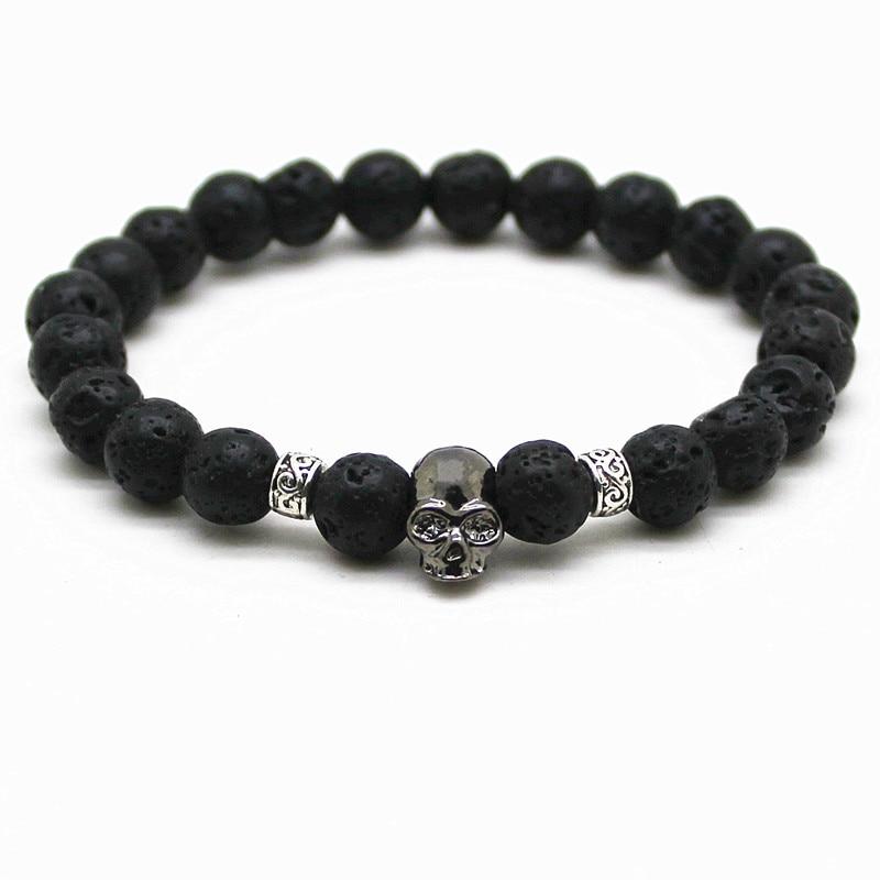 Black Beads Natural Stones Skull Bracelet For Women Lava Stone Beads Men Bracelet Black Lava Beads