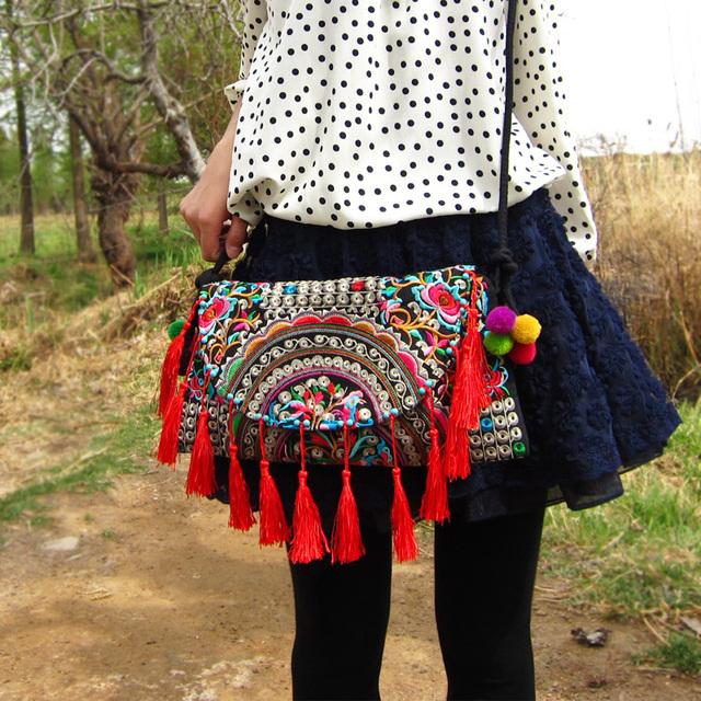 Embroidered Tassel Bag