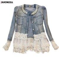 Women Oversized Jean Coat Female Outwear Abrigos Mujer Jaqueta Feminina Women Denim Jacket Long Sleeve Lace