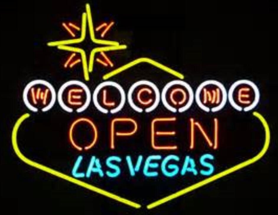 Open Welcome <font><b>Lasvegas</b></font> Glass Neon Light Sign image