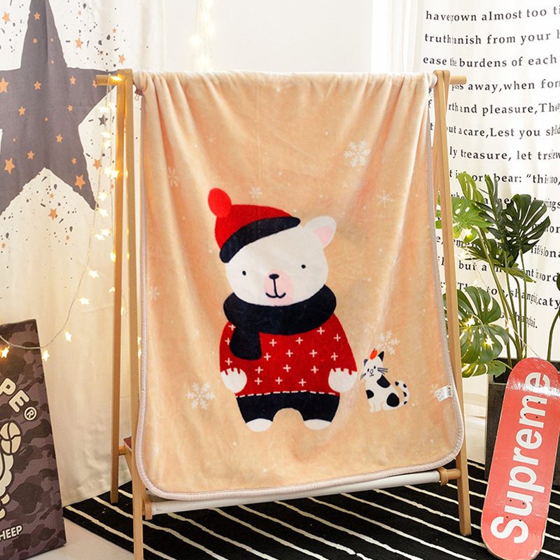 Couverture de motif d'ours de bande dessinée blanche pour enfants adultes dessin animé coloré en peluche jeter couverture canapé chiot pour canapé mince couette douce