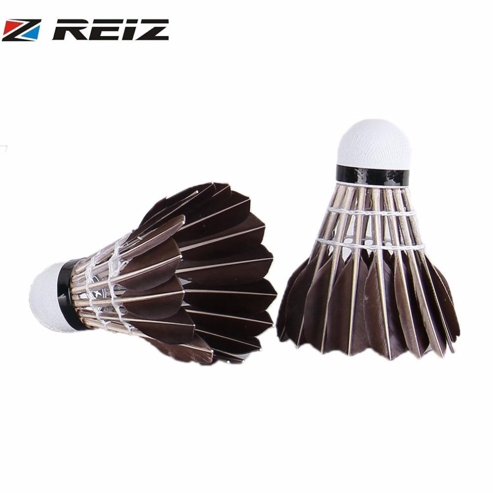 REIZ 12pcs/set Professional Competition Level Badminton Shuttlecocks Durable Duck Feather Training Badminton Ball X1/X2/X3/X6