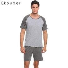 Ekouaer גברים פיג מה סט Nightwear קצר שרוול חולצות עם אלסטי מותניים מכנסיים פיג מה סטי מזדמן רופף הלבשת חליפת זכר בד