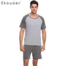 Ekouaer homens pijama conjunto pijamas manga curta topos com cintura elástica shorts pijamas define casual solto pijamas terno masculino pano