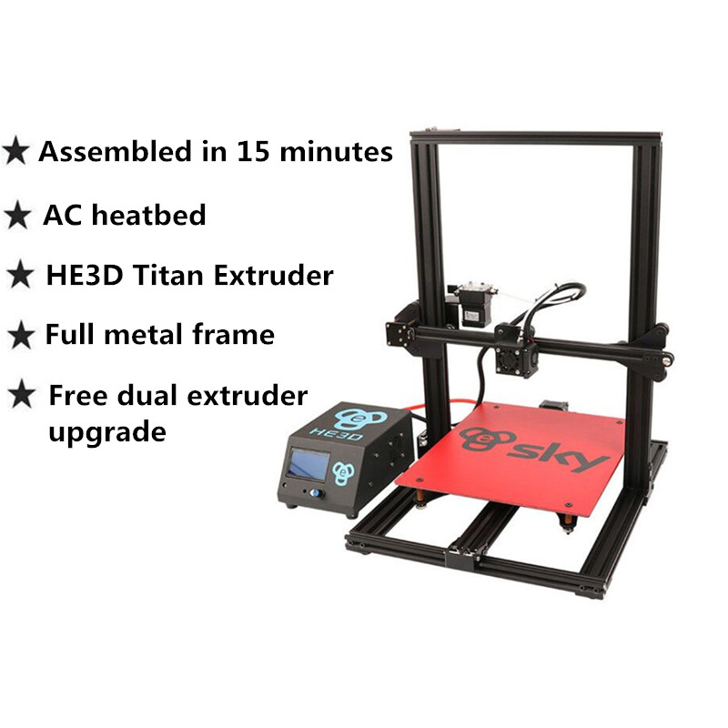 HE3D sky 3D Printer with Titan extruder 95% assembled Full Aluminium Frame high precision Large printing size impresora kit 2017 tevo tornado fully assembled aluminium extrusion 3d printer high printing quality impresora 3d printer with extruder