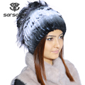 SARSALLYA Winter fur hat for women real rex rabbit fur hat with silver fox fur flower knitted beanies sale women fur cap