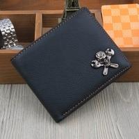 Fashion Personality Mens Wallet Leather Genuine Korean Design Men Wallet Small Card Wallet Skull Purse Walet