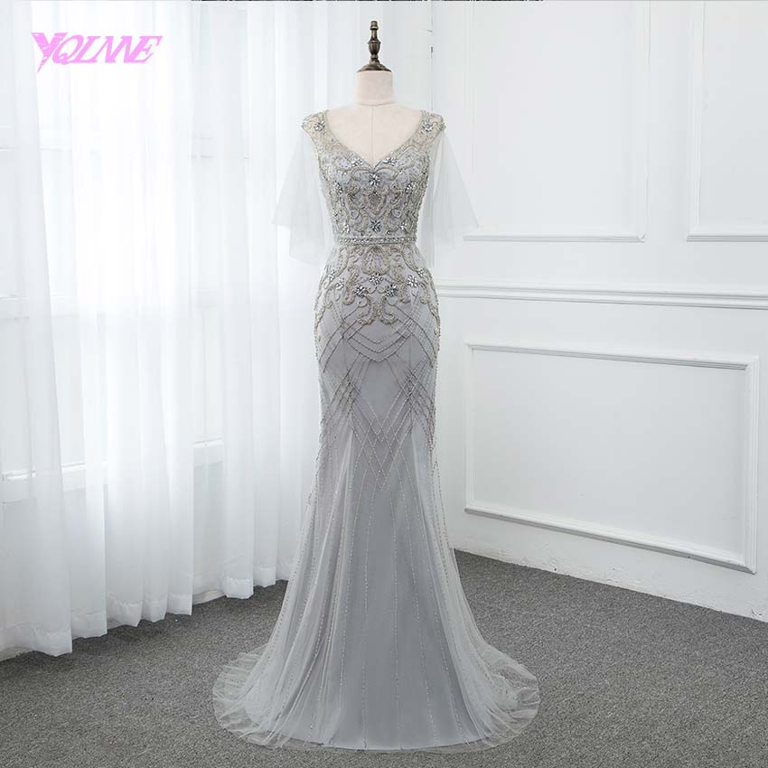 YQLNNE 2019 Silver Mermaid   Evening     Dress   V Neck Beading Pageant   Dresses   Formal Gown Open Back