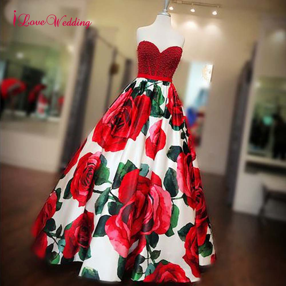 2019 A Line Floral Prom Dresses Sweetheart Red Pearl Beaded Natural Waist Vestidos Largos De Fiesta Elegante Formal Long-in Prom Dresses from Weddings & Events    1