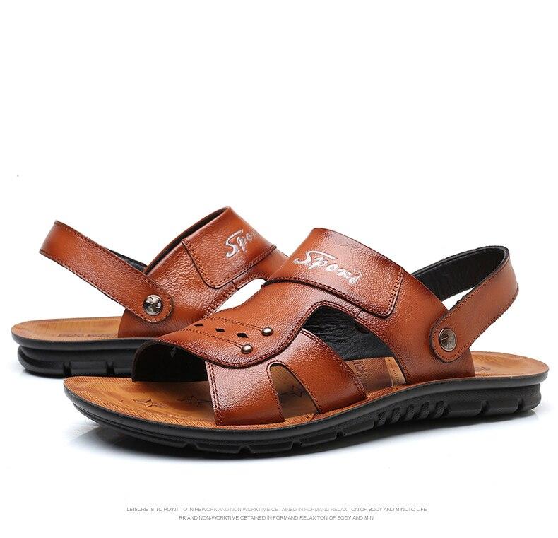 SYWGDC Couro Genuíno dos homens Sandálias Sapatos