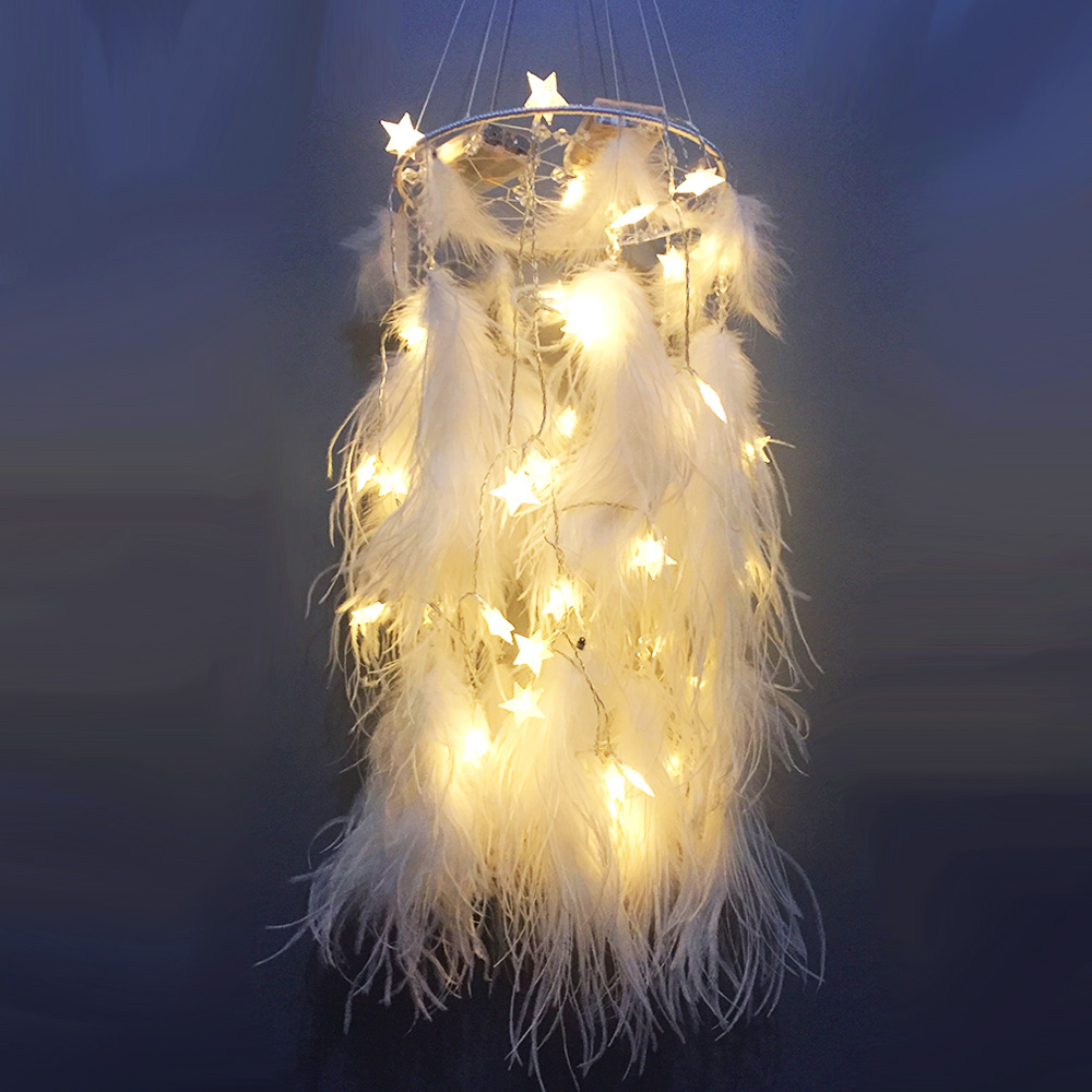 Big 25*115CM LED star light Dreamcatcher with white Feather pearl ...