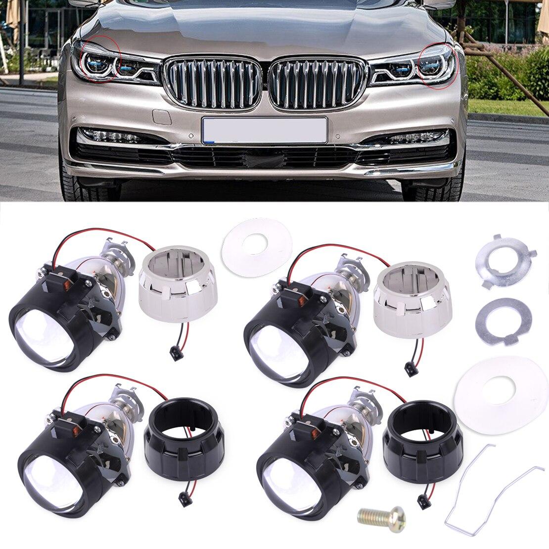 DWCX Car 2.5'' H1 Car Mini HID Low High Beams Bi-xenon Projector Halo Lens Kit + Headlight Shroud for All Models with H1 Socket