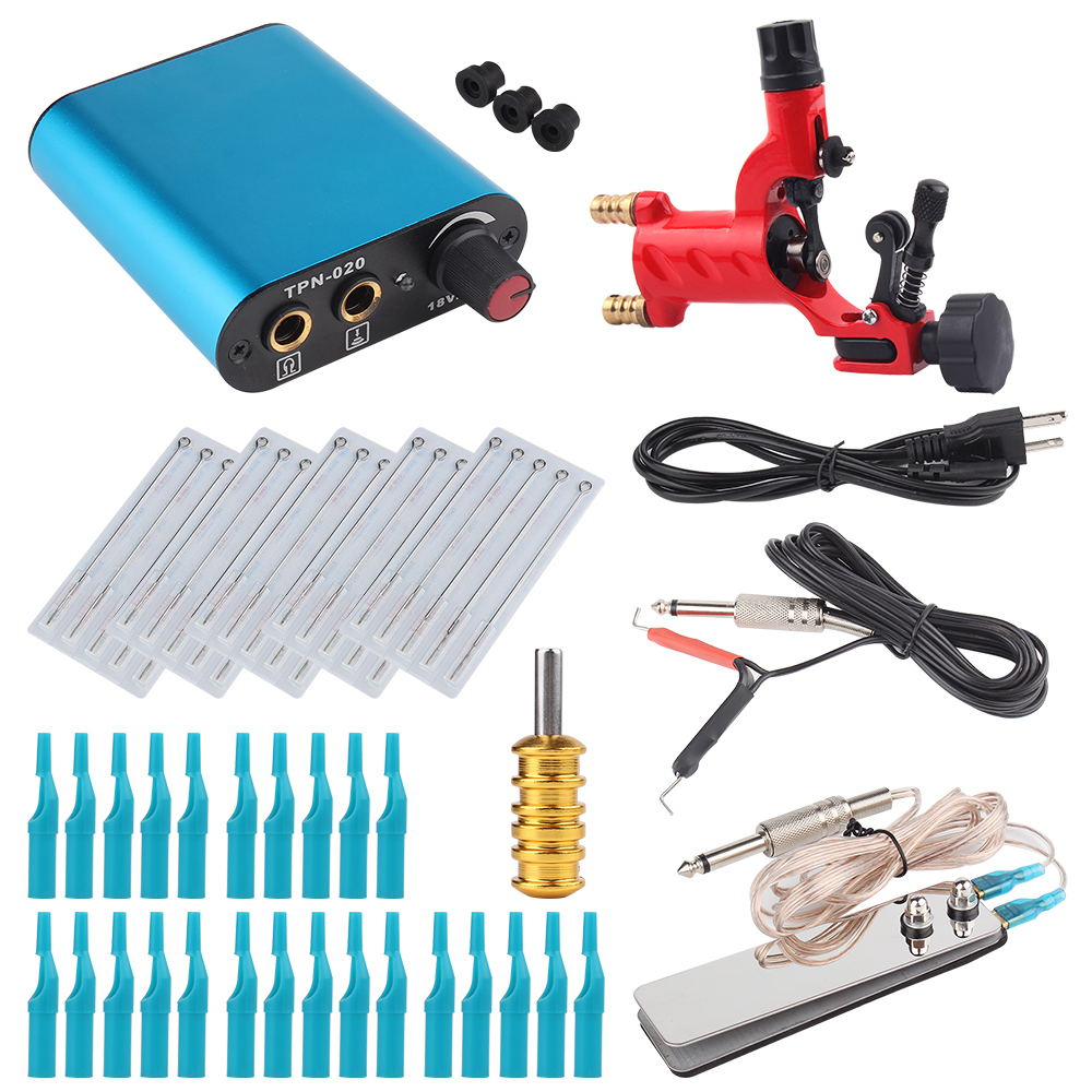 Tattoo Kit Red Dragonfly Rotary Tattoo Machine Shader & Liner With Tattoo Needle and Disposable Tattoo Tips Power Supply ac dc adaper 110 220v digital lcd tattoo power supply dual setting liner shader with 4 machine memory modes and adjustable base