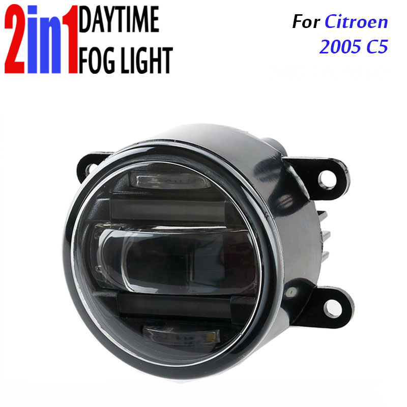 for Citroen C5 2005 3.5 90mm Round LED Fog Light Daytime Running Lamp Assembly LED Chips Fog Lamp DRL Lighting Lens for opel astra h gtc 2005 15 h11 wiring harness sockets wire connector switch 2 fog lights drl front bumper 5d lens led lamp