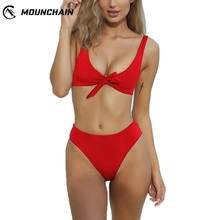 Women Sexy Deep V Neck Bikinis Swimsuit Set Knot Sling Brassiere and Briefs Seductive Beach Wear