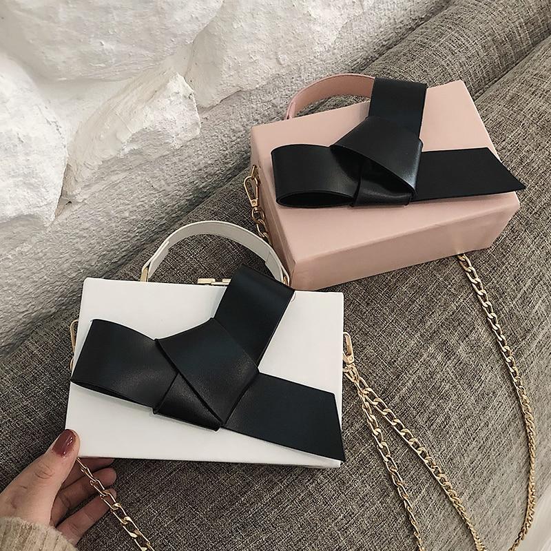Sweet Girl Box Tote bag 2019 Fashion New Quality PU Leather Women's Designer Luxury Handbag Bow Chain Shoulder Messenger bags 5