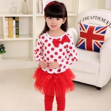 new sweet spring autumn baby gril clothing set dots Long sleeve t shirt+grenadine pantskirt leggings pants 2pcs kids3-10Y suit