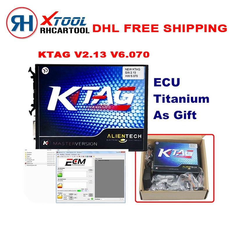 Цена за Бесплатная доставка Стайлинга Автомобилей KTAG Программирование ЭБУ К-TAG Инструмент Мастер V2.13 V6.070 Ktag к TAG ECU Чип Поворота Пожизненный бесплатный обновление
