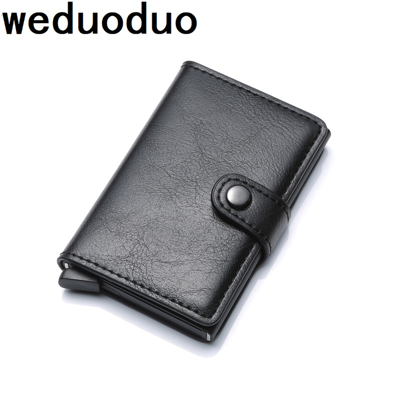 weduoduo PU Leather Metal Men Card Holder RFID Aluminium High quality Credit Card Holder With RFID Blocking Mini Wallet cohiba cigar humidor mini travel case 3 cigars holder spain cedar wood made with pu leather wrapped high quality