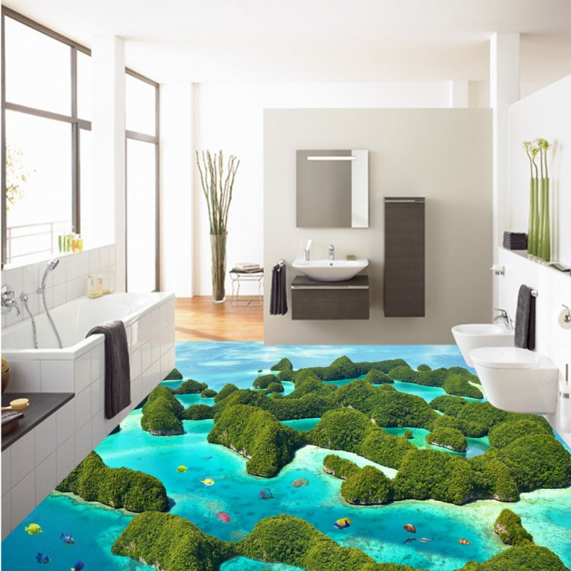 Free Shipping Beauty Reef Moss Sea Water Toilets Bathroom Bedroom 3D Floor moisture-proof living room kitchen flooring mural free shipping ultra high definition water glass surface 3d floor non slip bedroom living room bathroom square flooring mural