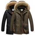 Hot autumn and winter men's warm coat plus cotton hooded wind jacket Overcoat free shipping