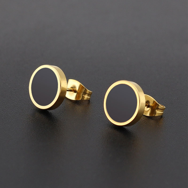1Pair Simple Geometric Round Earrings With Black White Resin Stainless Steel Ear Studs Hiphop Women Men Earring Jewelry ...