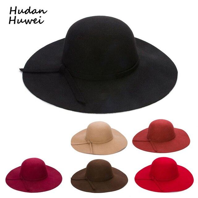Outono Inverno Chapéus De Aba Larga para Crianças Mulheres Meninas Do Vintage  chapéu de Feltro de d4dfe309f44