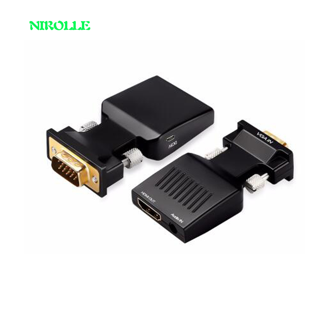 VGA to HDMI Converter With Audio Full HD VGA to HDMI adapter with Video Output 1080P HD for PC Laptop to HDTV Projector