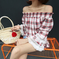 Women Tops and Blouses 2016 New Fashion Korean Vintage Plaid Lace Tassel Patchwork Flare Sleeve Off Shoulder Shirt Blouses T125