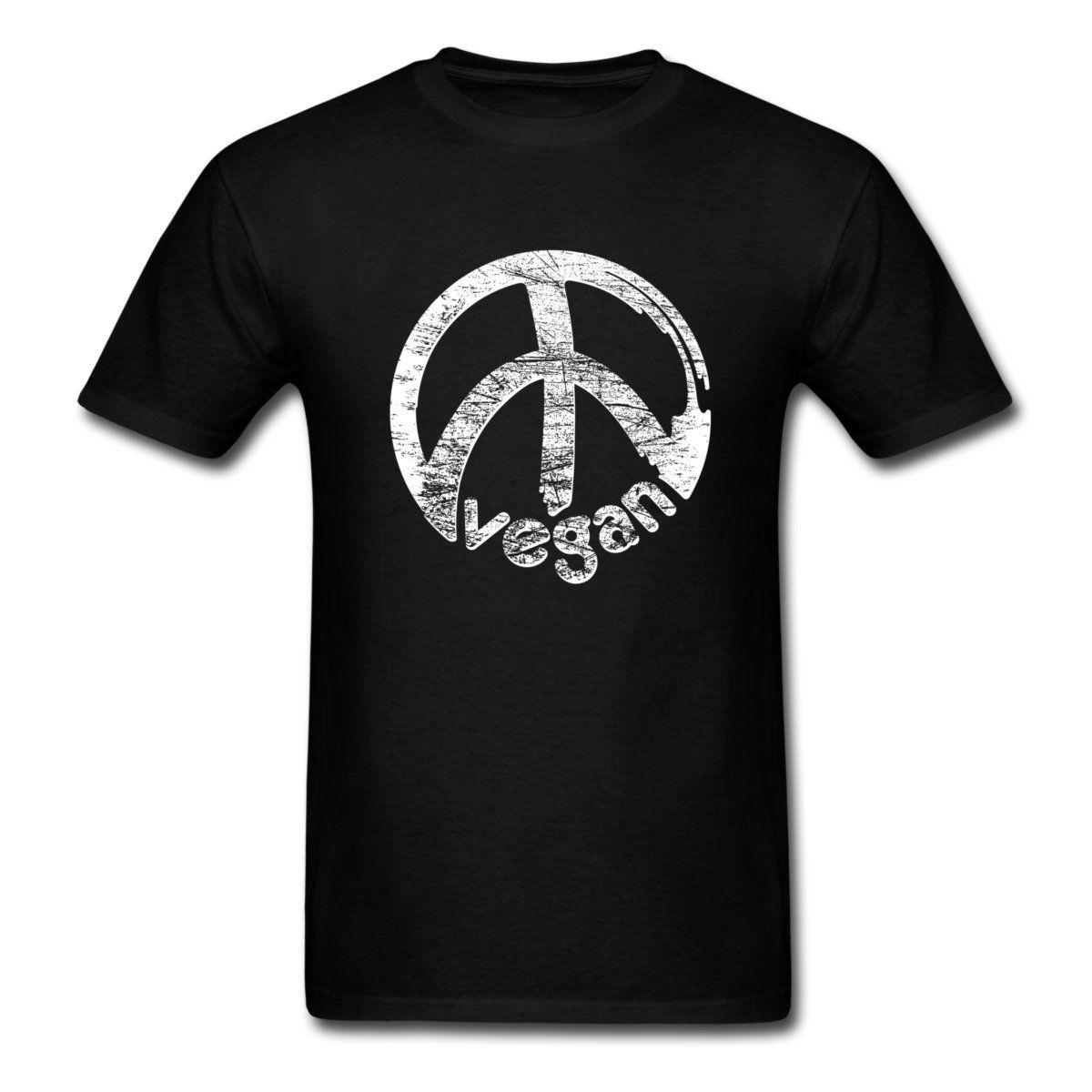 T Shirt Shop Online  Crew Neck Men Short Sleeve Best Friend Formal Veganism Vegan Peace Shirts