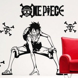 One piece wall stickers Cool naruto Anime wall against glass wall stickers on personality wall Cartoon version