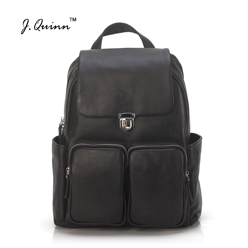 J.Quinn Genuine Leather Men Backpack Shoulder Bag Male Rucksack Travel Bags Large Capacity Fashion Computer Backpacks for Men 2017 new fashion men s backpacks bag male nylon business backpacks backpack large capacity backpack laptop bag computer bags men