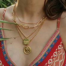 2019 Queen Head Geometric Pendant Necklaces Bohemian Female 4 Layers Necklace Retro Gold Carved Coin Necklace Jewelry New 2019 homod new pendant necklace bohemian female double layer necklace retro gold carved coin necklace jewelry dropshipping