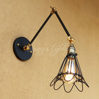Retro American Loft Industrial Wall Lamp Iron Wire Lampshade Cage Adjust Long Swing Arm For Living Room Bedroom Restaurant Bar