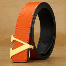 brand L LETTER designer mens belts high quality Cowskin leather V belt jeans woman strap Male luxury for men fashion