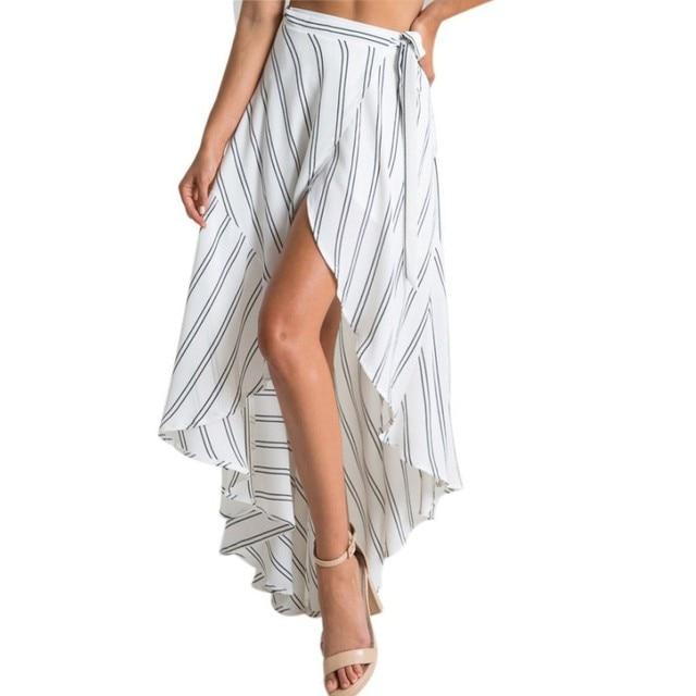 c4f4cdebb946 High waisted skirts womens high low striped fabric print wrap long black white  maxi skirt boho