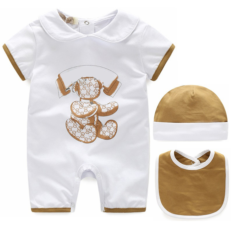 2019 fashion Summer Style 100% Cotton unisex baby boy girl clothes Newborn baby   Romper   + hat + Bibs sets 3M 6M 9M baby jumpsuit