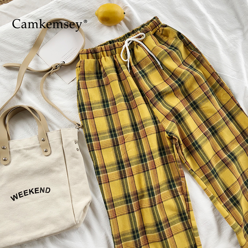 CamKemsey Vintage Yellow Plaid Japanese Harajuku Summer Pants Women Casual Drawstring Ankle Length Loose Wide Leg Cotton Pants(China)