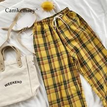 CamKemsey Vintage amarillo Plaid Harajuku japonés pantalones de verano Mujer Casual cordón tobillo longitud suelta pantalones de algodón con pernera ancha