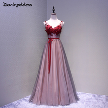Sexy Burgundy 3D Flowers Long Evening Dresses A Line Double V Neck Lace Evening Gowns Sleeveless Prom Party Formal Dresses 2017