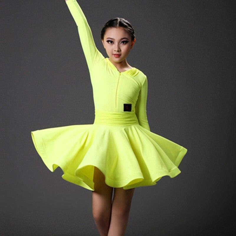 Picture of 2016 Professional Red/Orange/Yellow Dance Dress For Grading Test Children #39;S Latin/Rumba/Samba/Salsa Dance Performance/Practice