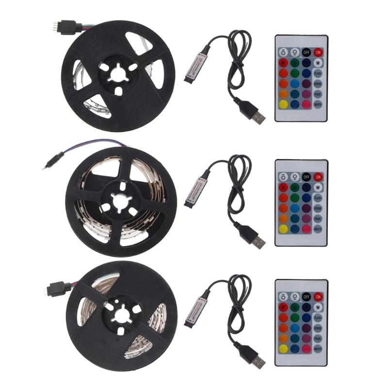 DC 5V USB 30 LED/m 5050 RGB Non Waterproof Flexible LED Strip Light TV Back Lighting+24 Key Remote t22