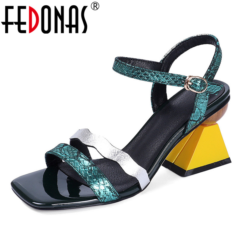 FEDONAS Fashion Top Quality Genuine Leather Women Sandals Prom Night Club Shoes Summer Shoes Woman Rome Strange Heels Pumps-in High Heels from Shoes    1