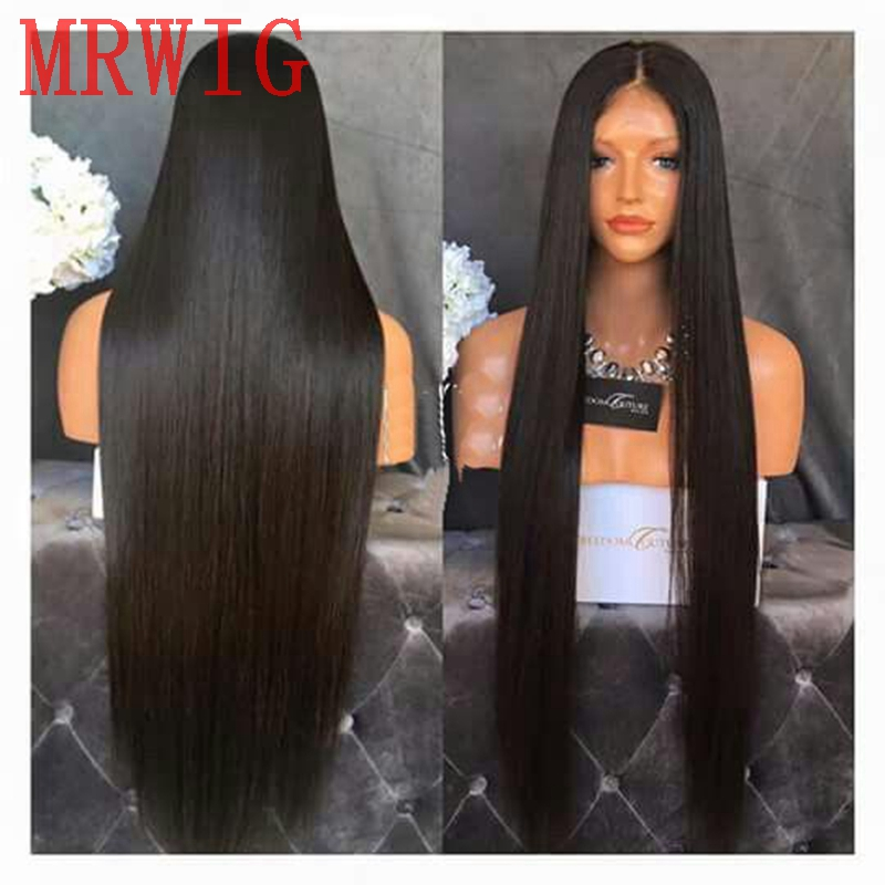 MRWIG Long Straight Brown Blonde Black Synthetic Glueless Front Lace Wig Middle Part Natural Looking
