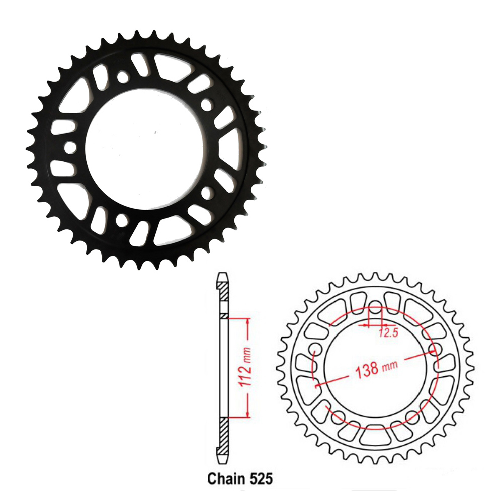 Motorcycle Rear Sprocket 525 38T 41T 42T 43T 44T 45T 47T For Honda VT750 CBF500 CB600 CBF600 CB650 VLX750 CBR900 XL1000