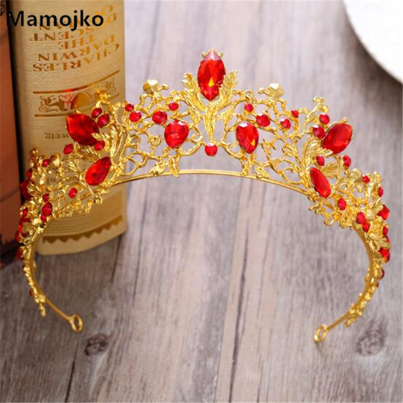 Mamojko Luxury Red Crystal Gold Wedding Crown For Women Fashion Charm Handmade Bridal Tiara Hair Accessories Jewelry