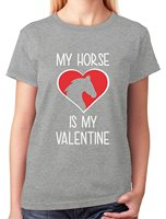 Custom Shirts Short Sleeve Summer Crew Neck Womens My Horse Is My Valentine Funny Valentines Day