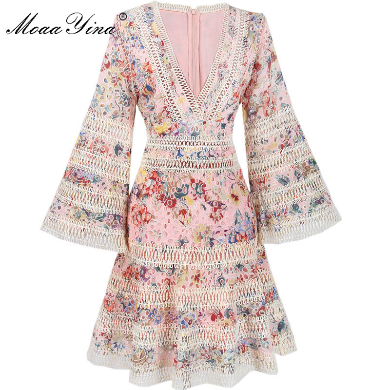 MoaaYina Fashion Designer Runway Dress Summer Women V collar Flare Sleeve Lace Hollow Out Printing Embroidery Sexy Party Dress 2017 autumn designer runway style party lace women allover hollow out lace embroidery long sleeve dark blue mermaid dress festa